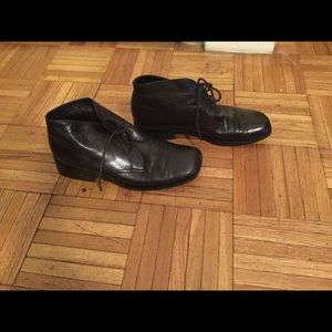 Shoes - Real Leather boots with tie. classic preppy